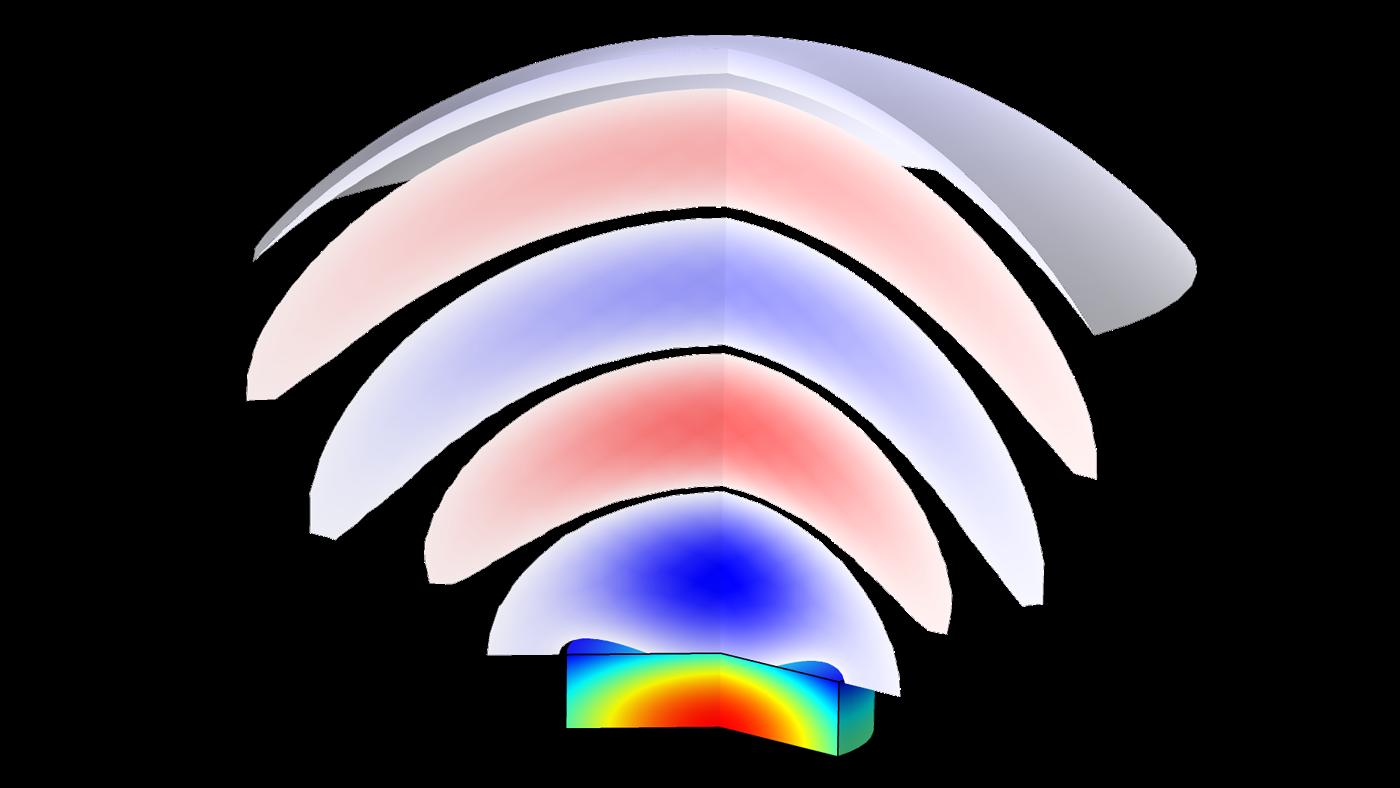 압전음향 장치 모델은 전기적인 외력과 발생 음압으로부터 발생하는 트랜스듀서 내의 응력 및 변형을 계산합니다.