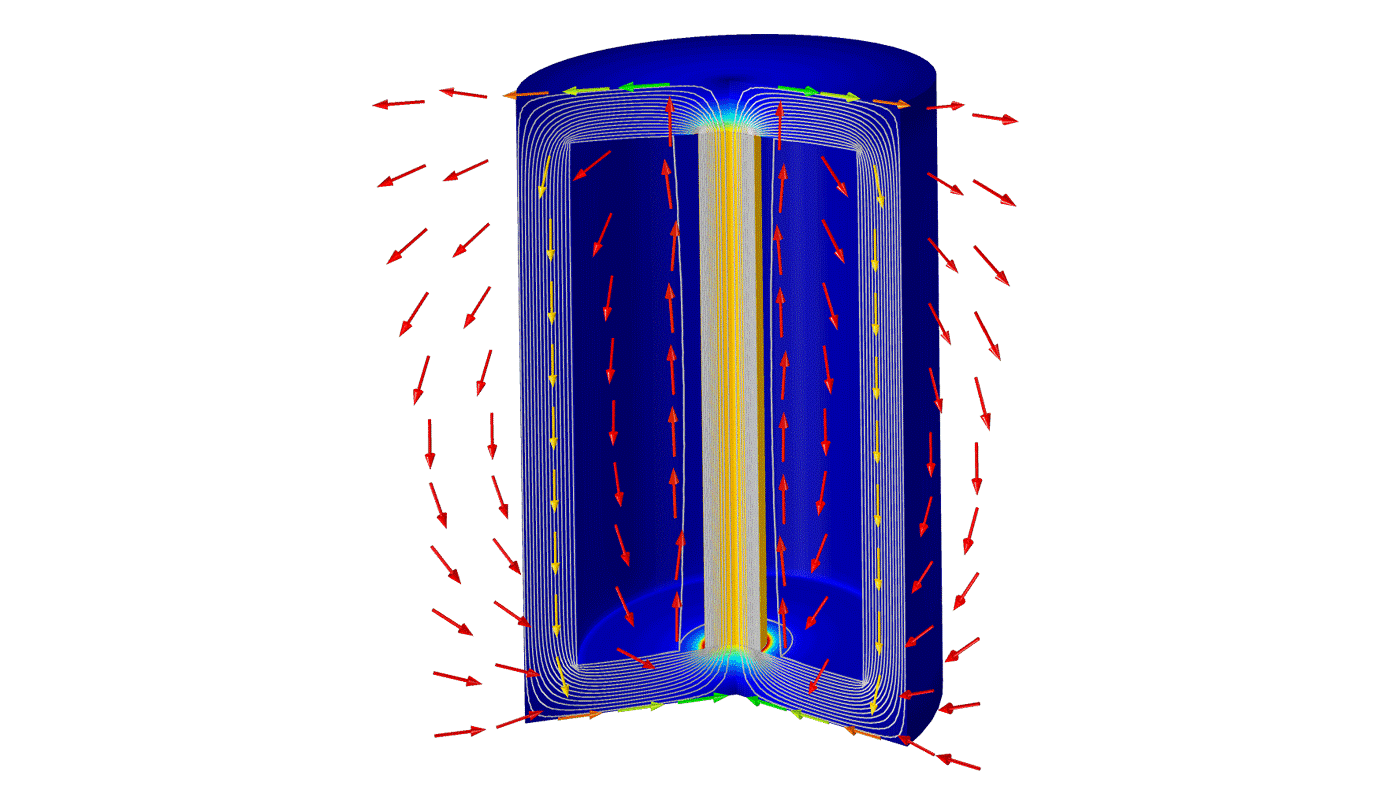 자기변형 트렌스듀서는 자기장 내에서 트렌스듀서의 변형과 응력을 계산합니다.