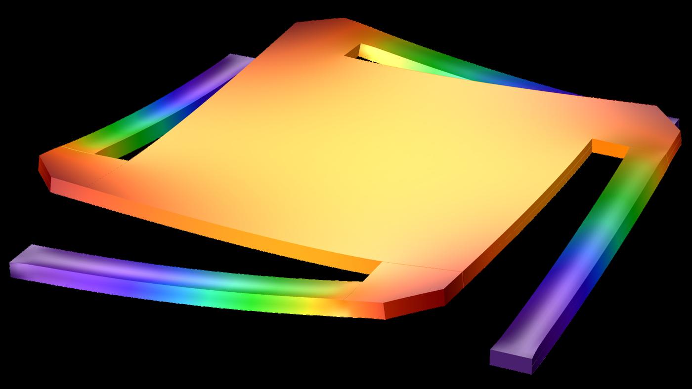 초기응력이 적용된 마이크로미터에서, 정전기력이 구조체에 나타나는 반면, 거울의 팔 끝단은 고정되어 있습니다.