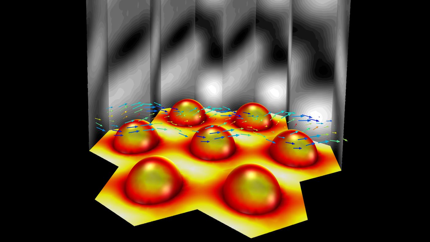 반구 형상을 가진 육각형 격자는 평면파를 반사합니다. 결과들은 전기장의 연속성과 회절 효율을 포함합니다.