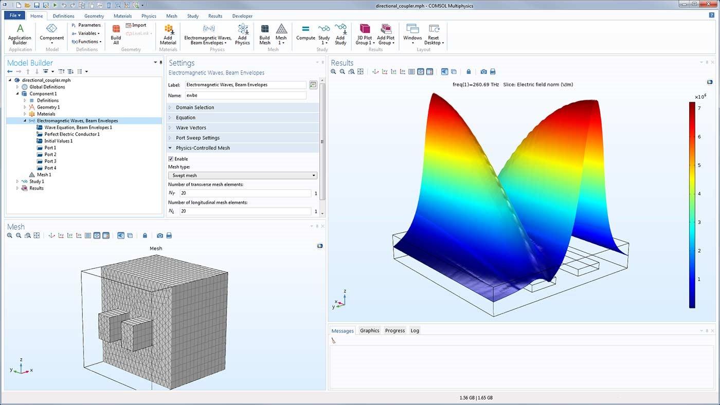 두 개의 나란한 광 도파관으로 구성된 방향성 커플러는 전기장을 계산하기 위해 Swept격자를 사용한 Physics-controlled mesh를 사용하여 모델링 되었습니다.
