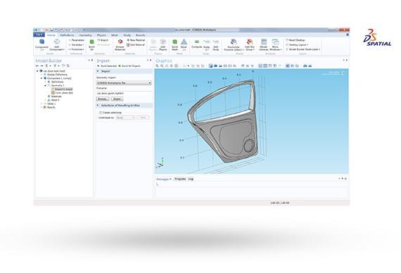 CATIA® V5 형식으로 자동차 문 형상을 COMSOL Desktop으로 불러온 그림입니다.