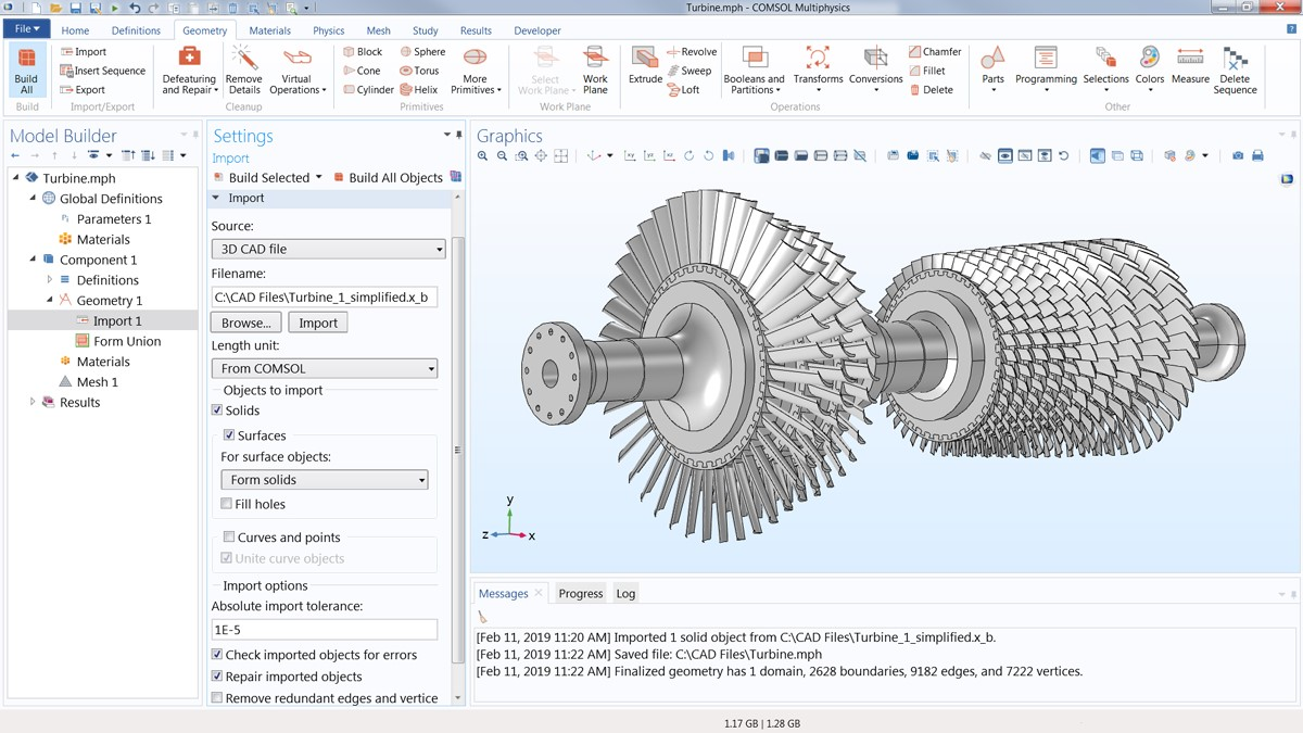 COMSOL Multiphysics에서 CAD Import Module을 활용한 이미지.