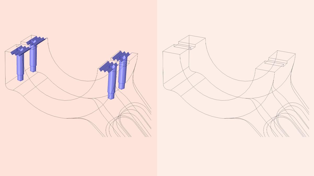 CAD 도구를 통해 가져온 형상은 이 예제의 그루브 및 구멍과 같이 전반적인 시뮬레이션에 중요하지 않은 형상을 제거하여 단순화 할 수 있습니다.