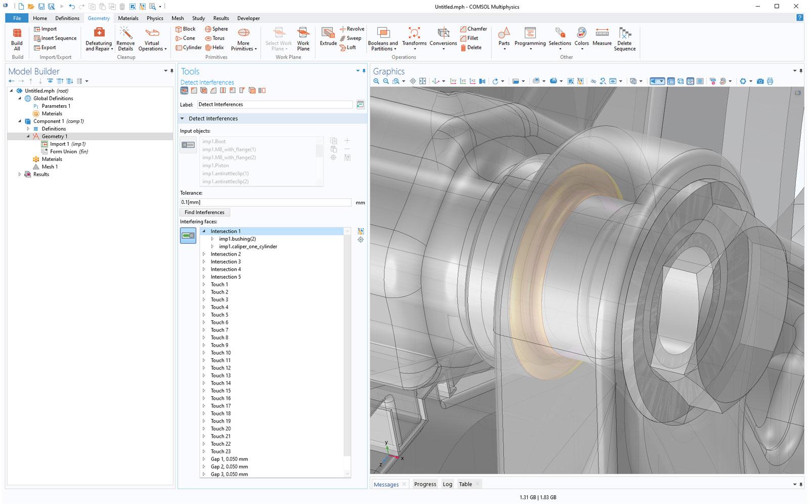 간섭이 있는 객체나 면에 대한 정보를 포함하고 있는, 불러온 CAD assembly에 간섭, 접촉, 틈을 확인합니다. 틈은 틈의 거리와 함께 목록을 보여주며, Zoom to Selection 버튼을 이용하여 위치를 쉽게 찾을 수 있습니다.