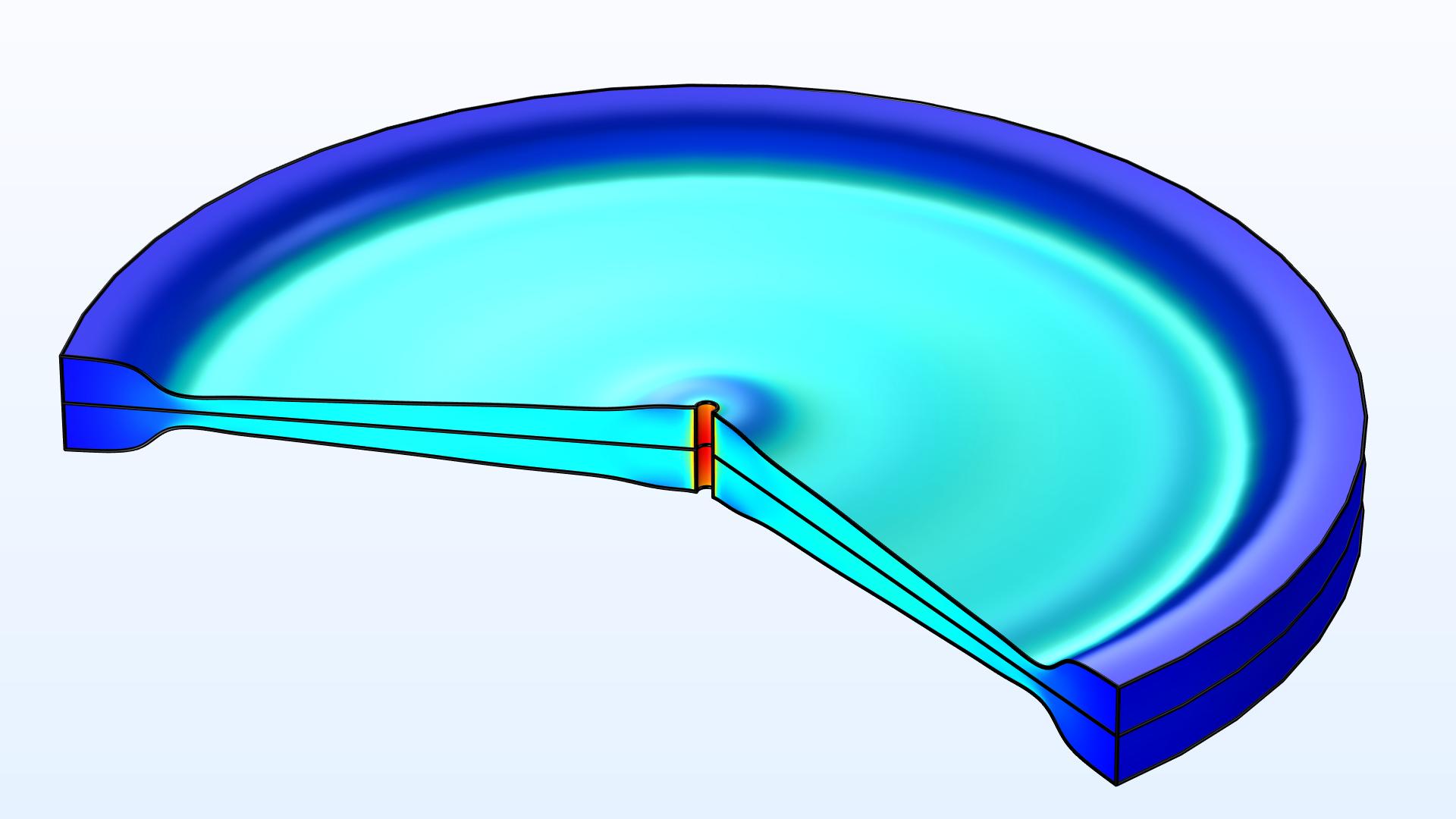 형상 최적화는 초기의 원통형 디스크에 대해 수행합니다. 관성 모멘트가 최대화되고 그때에 디스크는 플라이휠로써 사용될 수 있습니다.