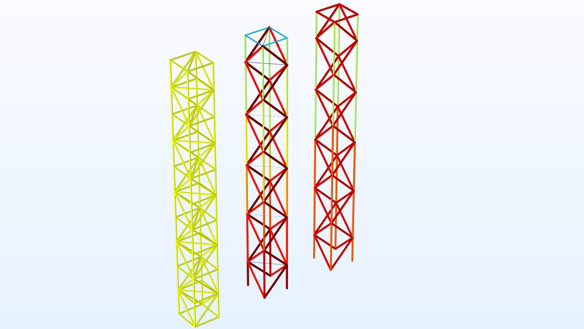 트러스 구조의 개별적 부재(部材) 지름이 질량 추가 없이 구조물이 뻣뻣해지도록 최적화 됩니다. 모델은 3가지 부재 종류를 사용하여 타워를 건설할 수 있도록 최적화된 설계를 어떻게 수정하는지를 설명합니다.