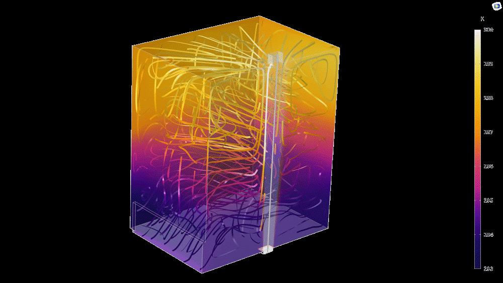 치환 환기에 대한 벤치마크 모델에서 온도 분포. 공기에 대한 밀도, 점도, 그리고 열전달 물성은 온도, 압력, 그리고 습도에 의존적입니다. Liquid & Gas Properties 모듈은 이러한 의존성에 대해 정확한 함수를 제공합니다.
