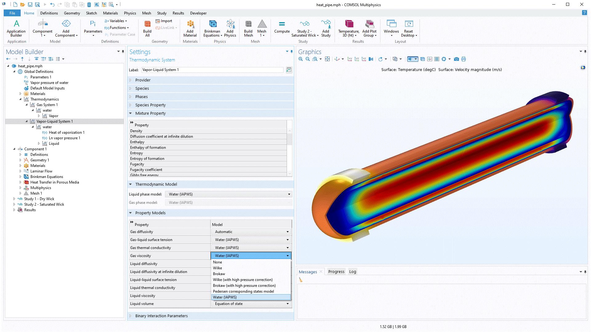 열역학 시스템을 정의하기 위한 화면에서 사용자는 열역학 모델을 선택할 수 있을 뿐만 아니라 모듈에서 계산되는 각 물성에 대해 물성 모델을 선택할 수 있습니다.