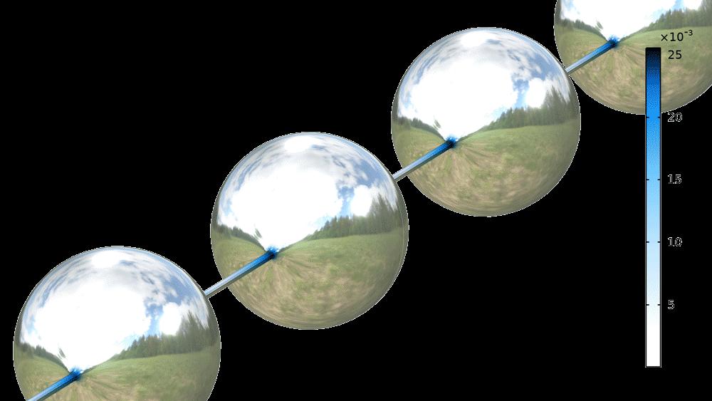 표면 장력이 작용하는 상태에서 점탄성 필라멘트의 박하(얇아 지는) 현상에 대한 벤치 마크 모델. 필라멘트는 기하 급수적으로 가늘어진 실 기둥으로 연결된 거의 구형 액체 방울이 있는 비드-온-스트링(beads-on-a-string) 구조물을 형성합니다. 그림은 유체 비드가 형성 될 때 유속을 보여주고 있습니다.