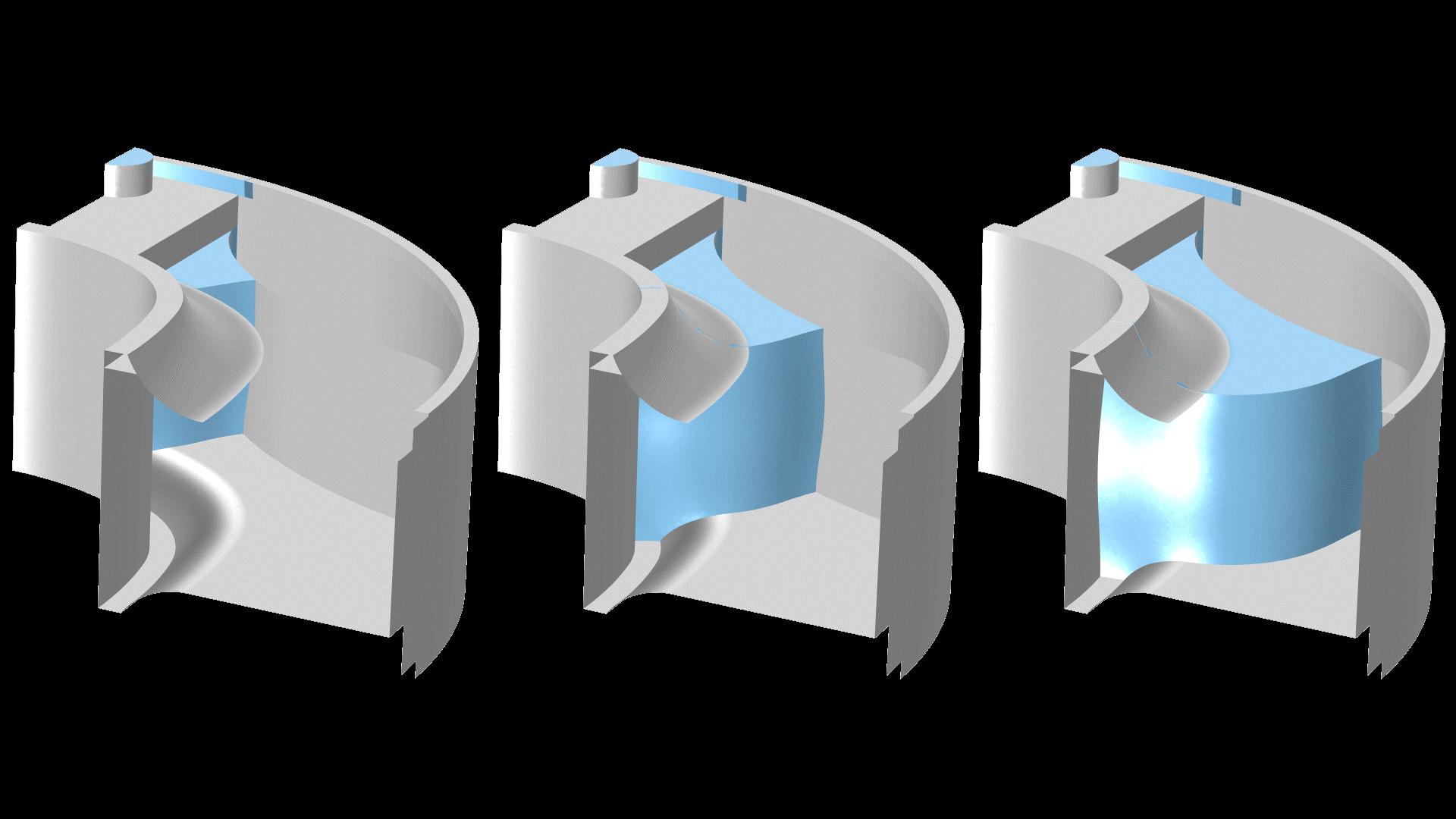 용융 고무 용액의 금형 충전. 이 모델은 Power Law 비탄성 모델을 적용하여 금형에서 나오는 공기의 흐름에 대한 고무 용융 및 뉴턴 흐름의 동작을 설명합니다. 위상 필드 방법은 위상 사이의 계면을 추적하는데 사용됩니다.