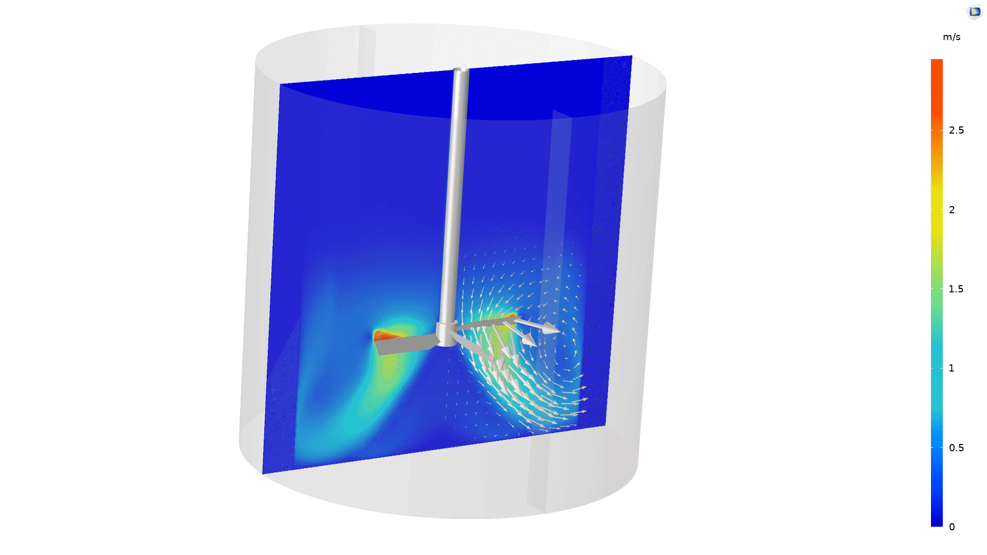 Power Law 모델로 모델링된 콜로이드 현탁액. 임펠러에서 멀어지면 점도가 극적으로 증가하여 믹서에서 매우 좋지 않은 혼합 성능을 보여줍니다. 이 모델은 액체 표면에 더 가까운 두 번째 임펠러가 필요할 수 있음을 보여줍니다.